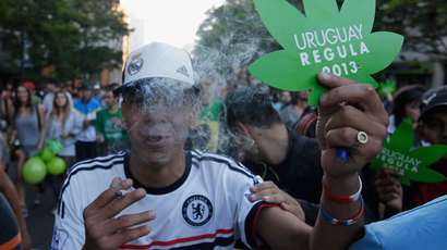 "People participate in the so-called ""Last demonstration with illegal marijuana,"" as Senate debates a bill establishing state regulation of the cultivation, distribution and consumption of marijuana, December 10, 2013.(Reuters / Andres Stapff)"