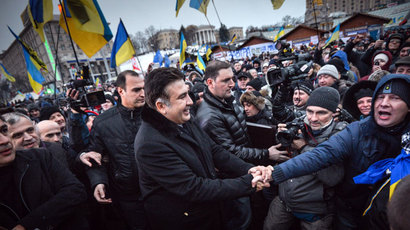 Former President of Georgia Mikhail Saakashvili, center, who arrived in Ukraine as a member of the European Parliament members' delegation, with supporters of Ukraine's European integration, in Independence Square.(RIA Novosti / Alexey Kudenko)