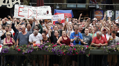 Supporters of the right-wing and anti-Islamist English Defence League (EDL) protest in Birmingham July 20, 2013. (Reuters/Stefan Wermuth)