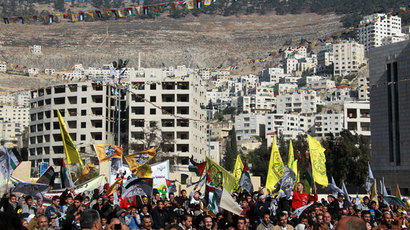 Palestinian supporters of the Palestinian leader Mahmud Abbas' Fatah party wave flags during a rally marking the 49th anniversary of the movement on January 2, 2014 in the West Bank city of Nablus.(AFP Photo / Jaafar Ashtiyeh)