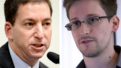 Combo of file pictures shows US journalist Glenn Greenwald (L, October 9, 2013 in Brasilia) and US whistleblower Edward Snowden (R, still frame grab recorded on June 6, 2013 in Hong Kong and released to AFP on June 10, 2013). (AFP Photo / Evaristo Sa / The Guardian)