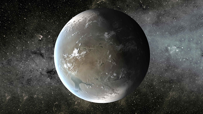 The artist's concept depicts Kepler-62f, a super-Earth-size planet in the habitable zone of a star smaller and cooler than the sun, located about 1,200 light-years from Earth in the constellation Lyra. Credit: NASA/Ames/JPL-Caltech