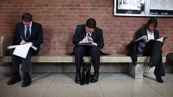 Job seekers prepare for career fair to open at Rutgers University in New Brunswick, New Jersey (Reuters / Mike Segar)