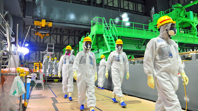 This handout picture taken by the International Atomic Energy Agency (IAEA) on November 27, 2013 shows review mission members of the IAEA inspecting the crippled Tokyo Electric Power CO. (TEPCO) Fukushima Dai-ichi nuclear power plant in the town of Okuma in Fukushima prefecture.  (AFP Photo/IAEA)