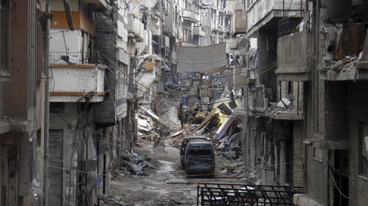 A view of a damaged street in the besieged area of Homs January 4, 2014. (Reuters/Thaer Al Khalidiya)