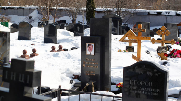 A general view of the grave of lawyer Sergei Magnitsky (C) in the Preobrazhensky cemetery in Moscow.(Reuters / Mikhail Voskresensky)