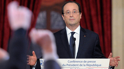 French president Francois Hollande gives a press conference to present his 2014 policy plans, on January 14, 2014 at the Elysee presidential palace in Paris (AFP Photo / Alain Jocard)