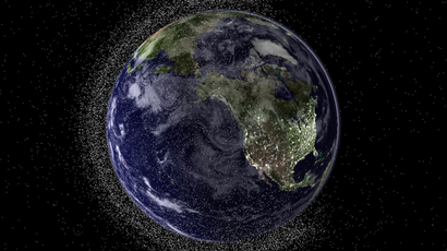A view of the Earth from geostationary height depicting swarms of space debris (AFP Photo)