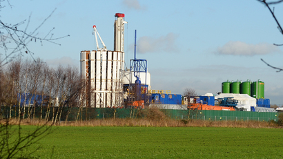 This picture shows a general view of a site where energy company IGas has permission to carry out exploratory drilling for shale gas at Barton Moss in Manchester on January 13, 2014 (AFP Photo / Paul Ellis)