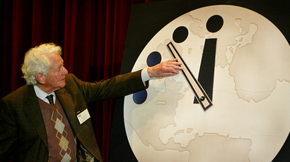 The Doomsday Clock has been used by the Bulletin of Atomic Scientist since 1947 to represent the perceived danger of a catastophic nuclear event. (AFP Photo / Scott Olson)