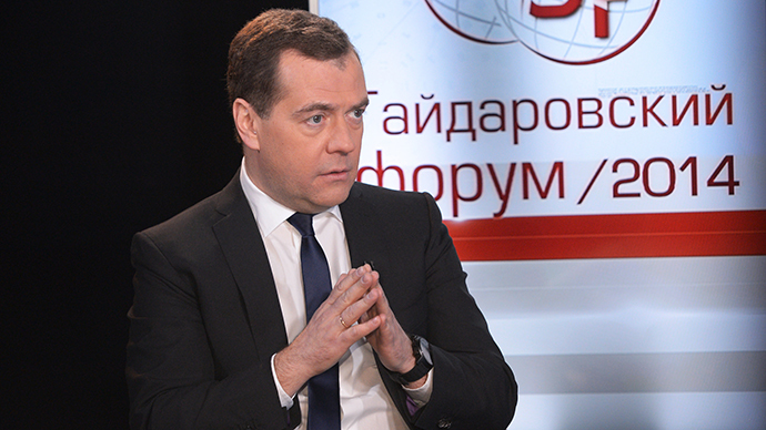 "January 15, 2014. Prime Minister Dmitry Medvedev giving an interview to the RBC TV channel during the 2014 Gaidar Forum ""Russia and the World: Sustainable Development,"" held at the Russian Presidential Academy of National Economy and Public Administration. (RIA Novosti / Alexander Astafiev)"