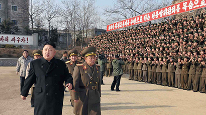 This undated picture released from North Korea's official Korean Central News Agency (KCNA) on January 12, 2014 shows North Korean leader Kim Jong-Un (front L) inspecting the command of Korean People's Army (KPA) Unit 534. (AFP Photo)