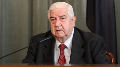 Syrian Foreign Minister Walid Muallem at the news conference held after his meeting with Russian Foreign Minister Sergei Lavrov at the Russian Foreign Ministry's Mansion in Moscow. (RIA Novosti/Mikhail Voskresenskiy)