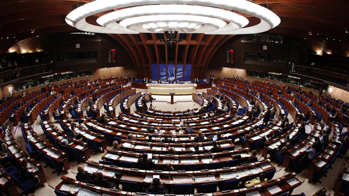 General view of the Parliamentary Assembly's plenary room at the Council of Europe (Reuters/Vincent Kessler)