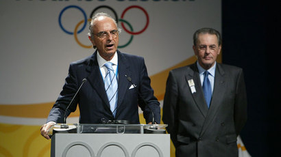 Mario Pescante (L), Chairman of the IOC's International Relations Commission, delivers a speech during the third day of the 119th International Olympic Committee Session on July, 06th, 2007 in Guatemala City.(AFP Photo / Pablo Porciuncula)