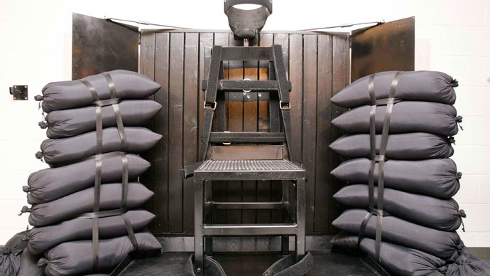 The execution chamber at the Utah State Prison is seen after Ronnie Lee Gardner was executed by a firing squad in Draper June 18, 2010.(Reuters / Trent Nelson-Salt Lake Tribune)