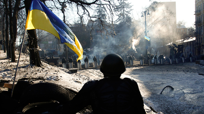 An anti-government protester sits on a barricade that faces a cordon of riot police in Kiev, February 2, 2014. Ukrainian President Viktor Yanukovich will return to work on Monday, four days after going on sick leave, according to a statement posted on the presidential website on Sunday (Reuters / David Mdzinarishvili)