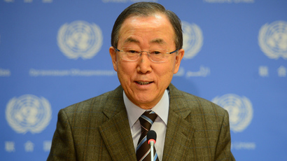 UN Secretary-General Ban Ki-moon makes an announcement at the United Nations headquarters in New York, January 19, 2014. (AFP Photo / Emmanuel Dunand)