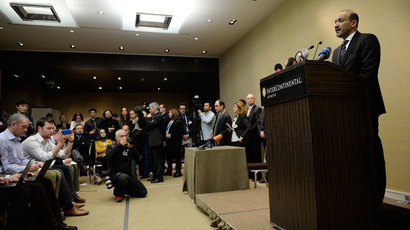 "Syrian National Coalition (SNC) leader Ahmad Jarba gives a press conference on the ""Geneva II"" peace talks, on January 23, 2014 at the Intercontinental hotel in Geneva.(AFP Photo / Philippe Desmazes)"