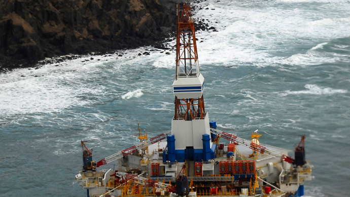 The conical drilling unit Kulluk sits (Reuters / U.S. Coast Guard / Petty Officer 2nd Class Zachary Painter / Handout / Files)