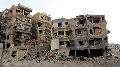 A picture taken on January 12, 2014, shows a destroyed neighborhood in the city of Daraya, southwest of the capital Damascus (AFP Photo / LCDC)