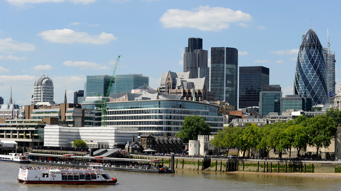 The financial district is seen in a view across the River Thames in London (Reuters / Paul Hackett)