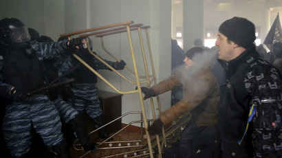 Clashes at the regional administration headquarters in Vinnytsia, January 25, 2014. (Reuters)