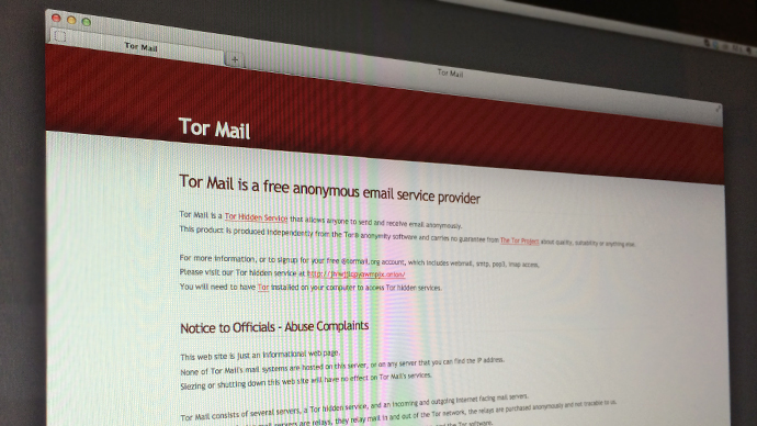 This picture shows a computer screen displaying the home page of tormail.org