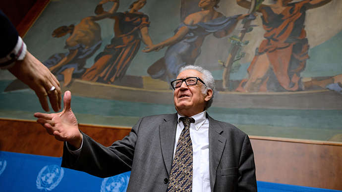 UN-Arab League envoy for Syria Lakhdar Brahimi leaves a press briefing at the United Nations on January 28, 2014, in Geneva. (AFP Photo / Fabrice Coffrini)