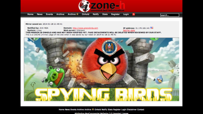 'Spying Birds': Hackers deface Angry Birds website following NSA revelations
