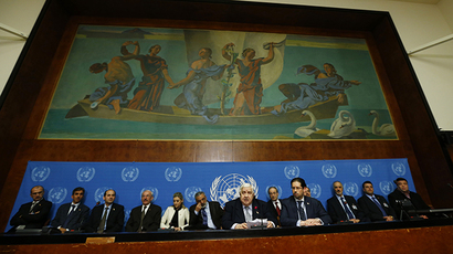 Syria's Foreign Minister Walid al-Moualem (C) addresses a news conference at the United Nations European headquarters in Geneva January 31, 2014. (Reuters / Denis Balibouse)