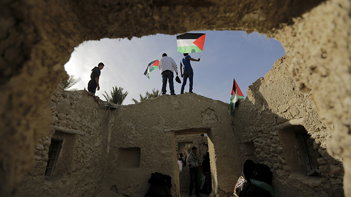 Palestinian and foreign activists hold Palestinian flags as they walk through the structures in an old village known as Ein Hajla, in the Jordan Valley near the West Bank city of Jericho January 31, 2014. (Reuters / Ammar Awad)
