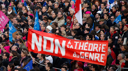 "A banner reads, ""No to Gender Theory"" as people wave trademark pink, blue and white flags during a protest march called, ""La Manif pour Tous"" (Demonstration for All) against France's legalisation of same-sex marriage and to show their support of traditional family and education values, in Paris February 2, 2014 (Reuters / Benoit Tessier)"
