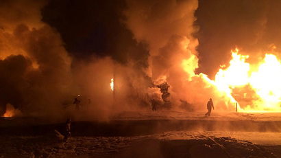 Over 30 carriages with liquefied gas derailed and caught fire in Russia's Kirov region (RIA Novosti)