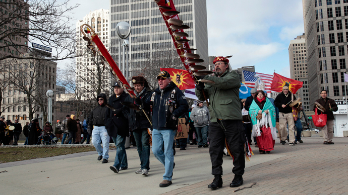 A group of Native Americans and supporters demonstrate in support of the 'Idle No More' First Nations Canadian movement in downtown Detroit, Michigan.