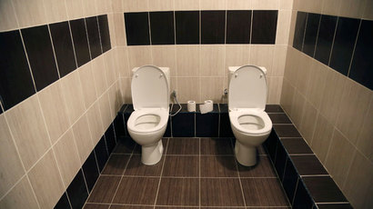 A two-toilet double stall is seen in the lobby of a media hotel as preparations continue for the 2014 Sochi Winter Olympics, February 3, 2014.(Reuters / Lucy Nicholson)