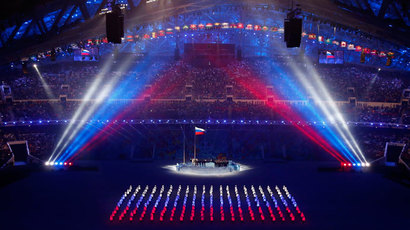 The Russian flag is being raised during the opening ceremony of the 2014 Sochi Winter Olympics, February 7, 2014.(Reuters / David Gray)