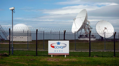 Satellite dishes are seen at GCHQ's outpost at Bude, close to where trans-Atlantic fibre-optic cables come ashore in Cornwall, southwest England June 23, 2013.(Reuters / Kieran Doherty)