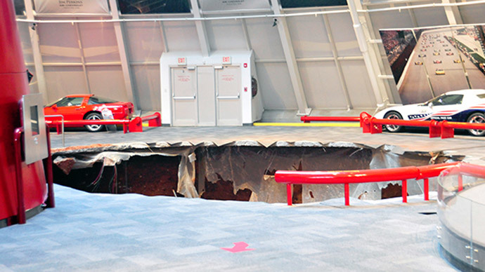 40-foot sinkhole swallows classic muscle cars at National Corvette Museum
