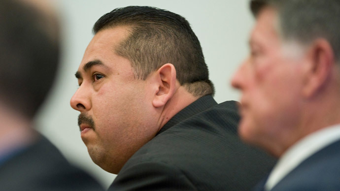 Former Fullerton police officer Manuel Ramos listens as the not guilty verdict is read in the Kelly Thomas murder trial in Santa Ana, California January 13, 2014.(Reuters / Mindy Schauer/)