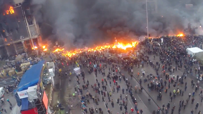 Smoke and fire on Kiev's Independence Square (AERIAL VIDEO)