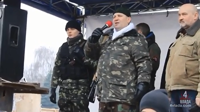 Aleksandr Muzychko, a Right Sector group leader (Still from YouTube video)
