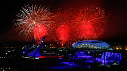 Fireworks explode over the Olympic Park during the closing ceremony for the 2014 Sochi Winter Olympics, February 23, 2014. (Reuters / Shamil Zhumatov)