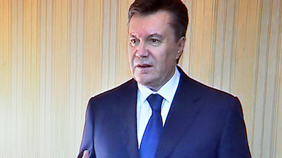handout tv grab provided by the Presidential Press Service shows Ukrainian President Viktor Yanukovych speaking to the local TV in Kharkiv on February 22, 2014 (AFP Photo)