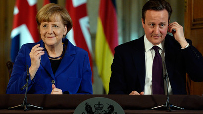 Britain's Prime Minister David Cameron and German Chancellor Angela Merkel hold a news conference at Number 10 Downing Street in London February 27, 2014. (Reuters / Facundo Arrizabalaga / pool)
