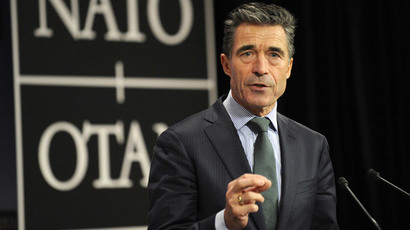 Secretary-General of the North Atlantic Treaty Organization (NATO) Anders Fogh Rasmussen speaks during a press conference on the second day of a defence ministers 'meeting at the NATO headquarters in Brussels on Februrary 27, 2014. (AFP Photo / John Thys)