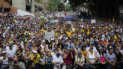 Opposition students attend a rally against violence in Caracas February 27, 2014. (Reuters/Tomas Bravo)