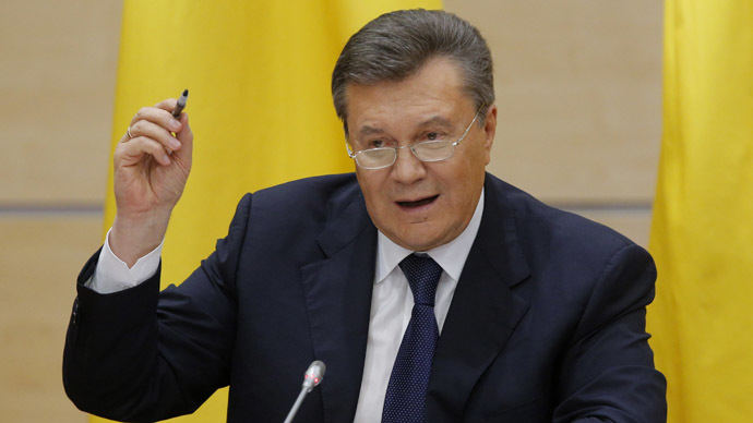 Ousted Ukrainian President Viktor Yanukovich takes part in a news conference in the southern Russian city of Rostov-on-Don February 28, 2014. (Reuters/Maxim Shemetov)