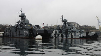 Russian military vessels are anchored at a navy base in the Ukrainian Black Sea port of Sevastopol, Crimea, February 27, 2014 (Reuters)