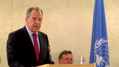 Russian Foreign Minister Sergey Lavrov addressing the UN Council for Human Rights (Still from video)